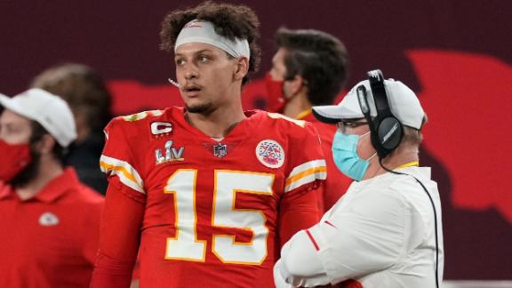 Mahomes watches from the sideline late in the second half.