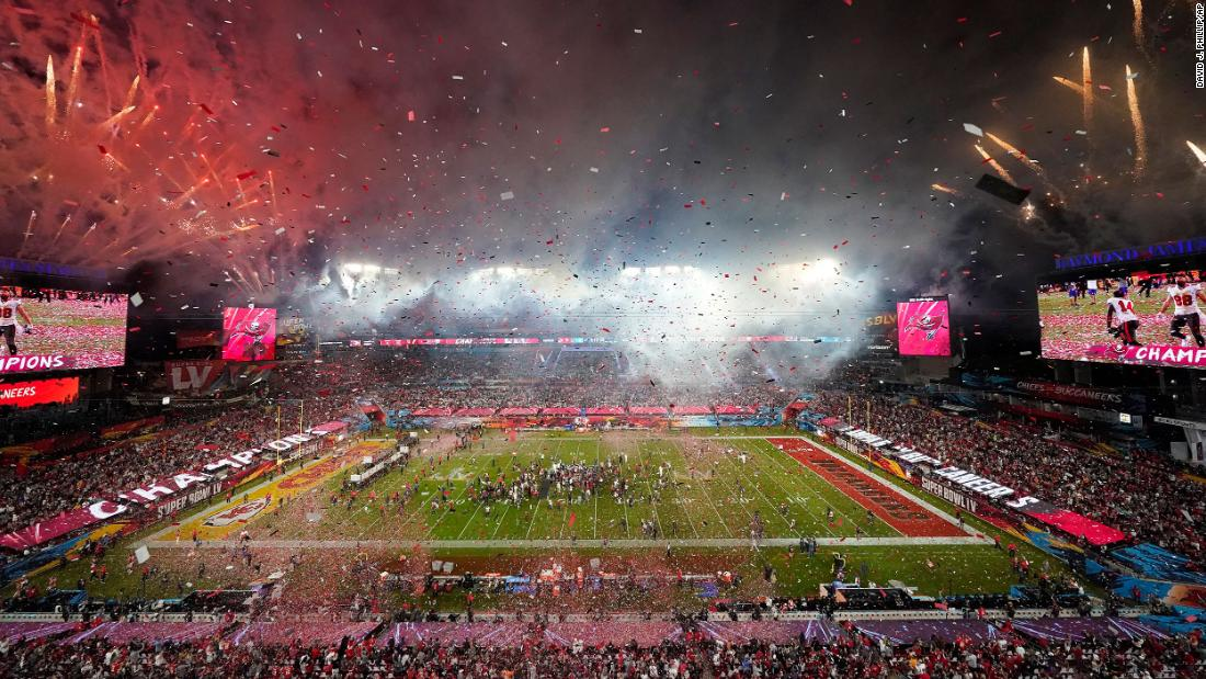 Fireworks and confetti are seen after the final whistle.