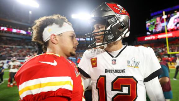 Brady and Kansas City quarterback Patrick Mahomes meet after the game.