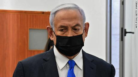 Israeli Prime Minister Benjamin Netanyahu arrives to a hearing in his corruption trial at the Jerusalem district court, on February 8.