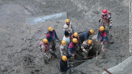 Search and rescue teams in Chamoli district after an avalanche on Febrary 7, 2021.
