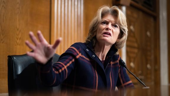 Senator Lisa Murkowski, R-AK, speaks on Capitol Hill, on February 4, 2021, during a Senate Health, Education, Labor and Pensions Committee nomination hearing. (Photo by Graeme Jennings / POOL / AFP) (Photo by GRAEME JENNINGS/POOL/AFP via Getty Images)