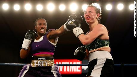 Clarissa Shields lands a punch on Szilvia Szabados of Hungary in 2017.