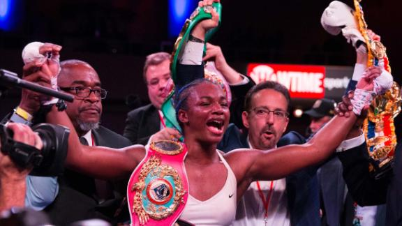 ATLANTIC CITY, NJ - APRIL 13: Claressa Shields reacts after defeating Christina Hammer (not pictured) and becoming the women's undisputed middleweight champion at Atlantic City Boardwalk Hall on April 13, 2019 in Atlantic City, New Jersey. (Photo by Mitchell Leff/Getty Images)