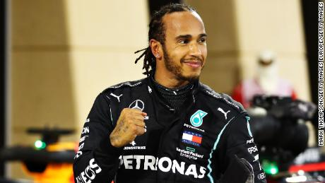 Hamilton celebrates during last year's Bahrain GP.