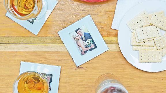 Glass photo frame coasters, set of 4