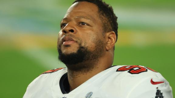 TAMPA, FLORIDA - FEBRUARY 07: Ndamukong Suh #93 of the Tampa Bay Buccaneers looks on during the third quarter against the Kansas City Chiefs in Super Bowl LV at Raymond James Stadium on February 07, 2021 in Tampa, Florida. (Photo by Mike Ehrmann/Getty Images)