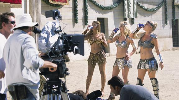 Spears joins Beyonce and Pink for the filming of a Pepsi commercial in Rome in 2003.