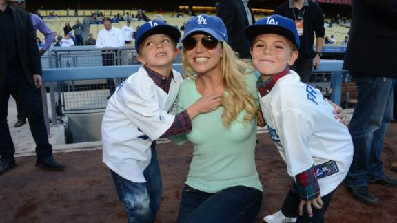 Spears poses with her sons -- Jayden, left, and Sean -- at a Los Angeles Dodgers baseball game in 2013.
