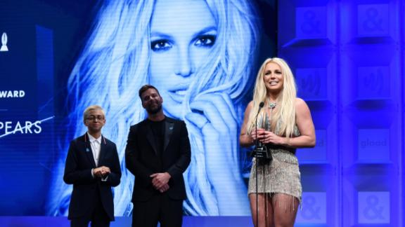 Spears accepts the Vanguard Award at the GLAAD Media Awards in 2018. The award goes to a performer who has made a difference in promoting and supporting equality.