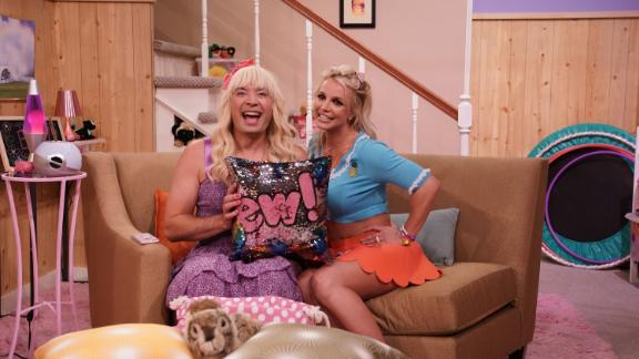 """Spears appears with Jimmy Fallon in a """"Tonight Show"""" sketch in 2018."""