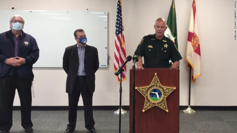 Pinellas County Sheriff Bob Gualtieri speaks at a press conference on Monday, February 8, about the attempted hacking of the city of Oldsmar's water treatment system.