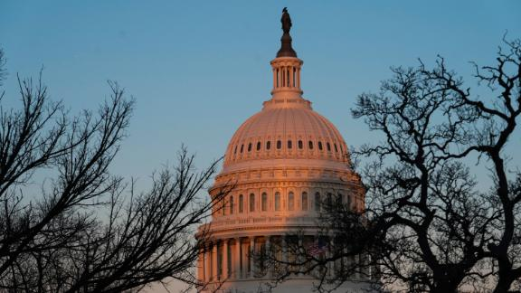 WASHINGTON, DC - FEBRUARY 08: The exterior of the U.S. Capitol building is seen at sunrise on February 8, 2021 in Washington, DC. The Senate is scheduled to begin the second impeachment trial of former U.S. President Donald J. Trump on February 9. (Photo by Sarah Silbiger/Getty Images)