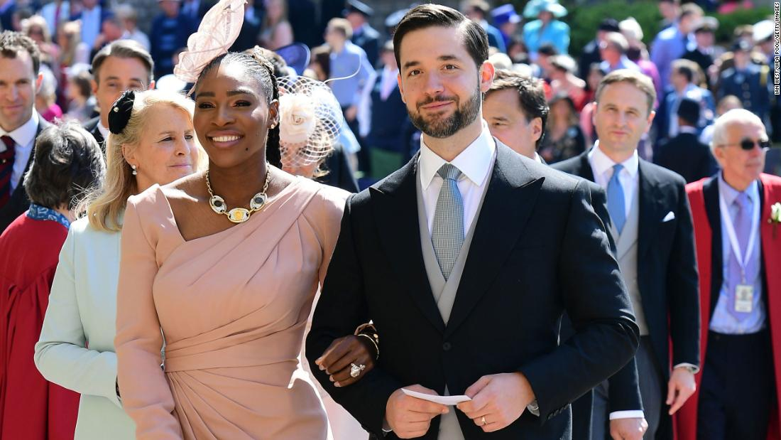 Serena Williams and her husband Alexis Ohanian arrive for the wedding ceremony of Prince Harry and Meghan Markle on May 19, 2018, in Windsor, England.