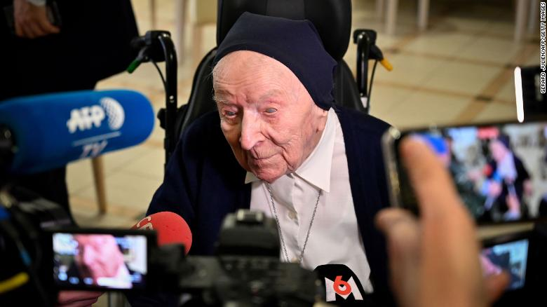 Sister André, pictured in February 2020.