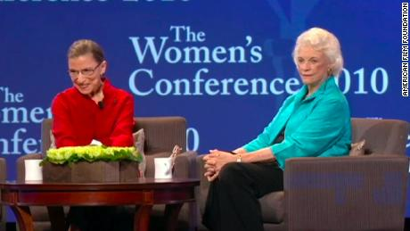 Ruth Bader Ginsburg with fellow Supreme Court Justice Sandra Day O'Connor