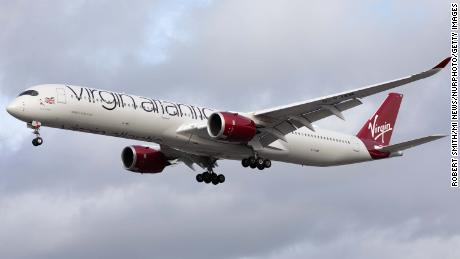 A Virgin Atlantic Airbus A350 lands at London's Heathrow Airport on October 28, 2020.