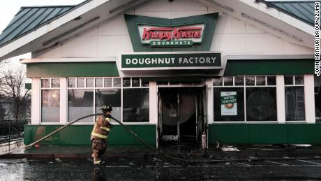 The Krispy Kreme doughnut shop on Ponce de Leon Avenue in Atlanta caught fire early Wednesday morning.