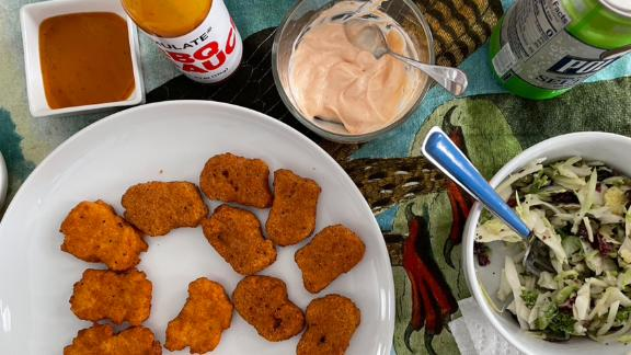 The original and spicy Nuggs with an array of sauces