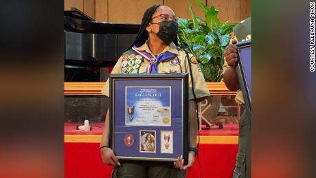 Kendall Jackson was awarded her Eagle Scout medal on Sunday.
