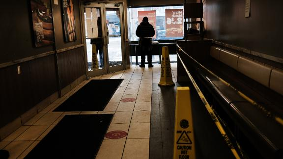 A fast food restaurant stands empty in a Manhattan neighborhood on February 05, 2021 in New York City. New government jobs numbers released on Friday showed that while 49,000 jobs were added in January, the United States economy is still down nearly 10 million jobs lost since before the pandemic. (Photo by Spencer Platt/Getty Images)