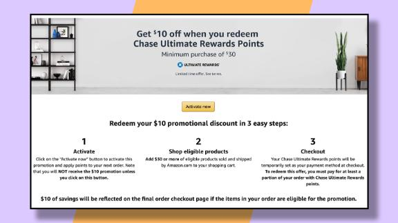 Targeted Chase credit card holders can get $10 off their next Amazon purchase.