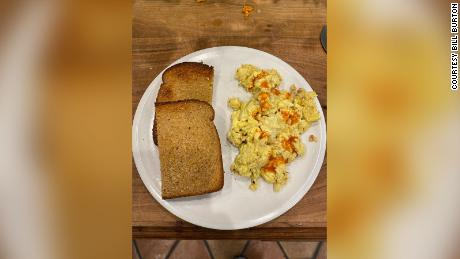 Bill Burton's family's 1,000th meal during lockdown was scrambled eggs.
