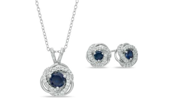 Zales Lab-Created Blue and White Sapphire Pendant and Earrings Set