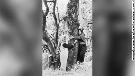 Photo shows women of the Chipko Movement in India.