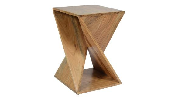 Solid Wood Abstract End Table