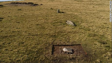 Shown here is the arc of former standing stones at Waun Mawn in Pembrokeshire, Wales, during trial excavations in 2017, viewed from the east. Only one of them is still standing.