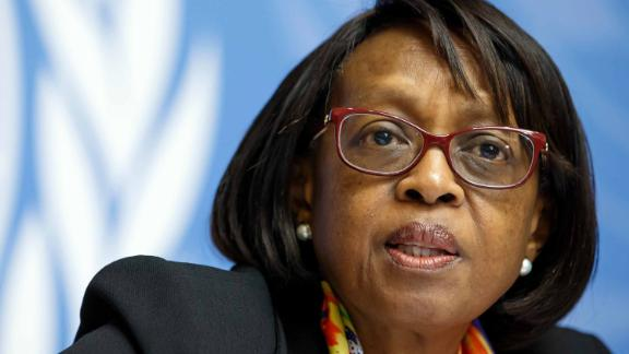 WHO Regional Director for Africa, Dr Matshidiso Moeti, gives an update on Ebola operations in the Democratic Republic of the Congo during a press conference on February 1.