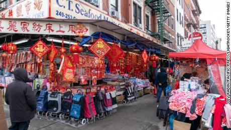Chinatown street with few people and sellers on February 10, 2021 just two days before the Lunar New Year celebration.