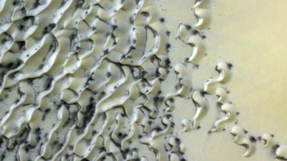 Is that cookies and cream on Mars? No, it's just polar dunes dusted with ice and sand.