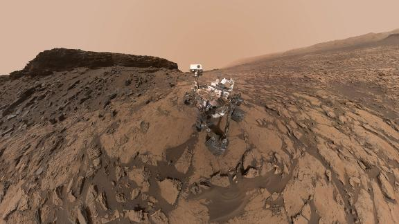 This 2016 self-portrait of the Curiosity Mars rover shows the vehicle at the Quela drilling location in the Murray Buttes area on lower Mount Sharp.