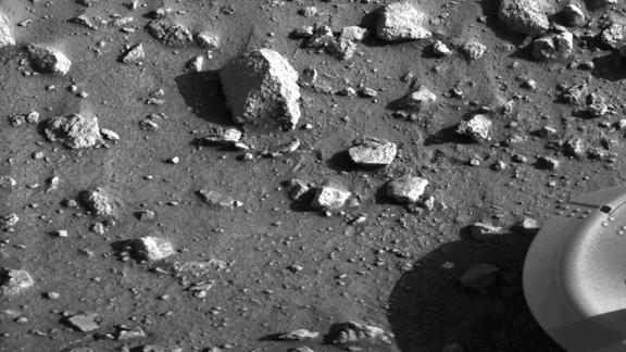 Taken by the Viking 1 lander shortly after it touched down on Mars, this image is the first photograph ever taken from the surface of Mars. It was taken on July 20, 1976.