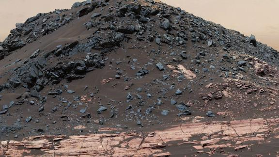 This dark mound, called Ireson Hill, is on the Murray formation on lower Mount Sharp, near a location where NASA