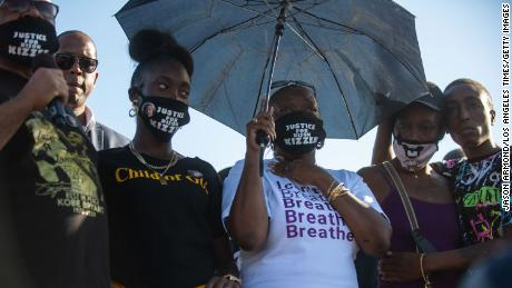 Dijon Kizzee family members spoke to protesters in front of the  South Los Angeles Sheriff's station in September.