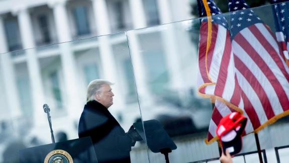 US President Donald Trump speaks to supporters from The Ellipse near the White House on January 6, 2021, in Washington, DC.