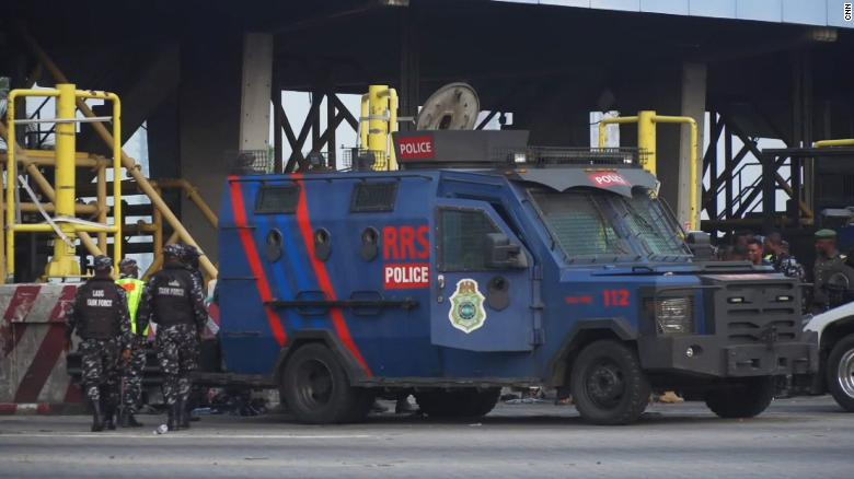 An increased security presence was visible at the Lekki toll gate in Lagos on Saturday.