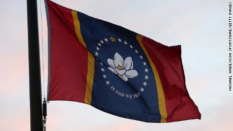 The new Mississippi state flag flies outside the stadium before the game between the Ole Miss Rebels and the South Carolina Gamecocks on November 14, 2020.