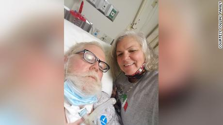 Roger Collins and his wife, Billie, in his hospital bed.