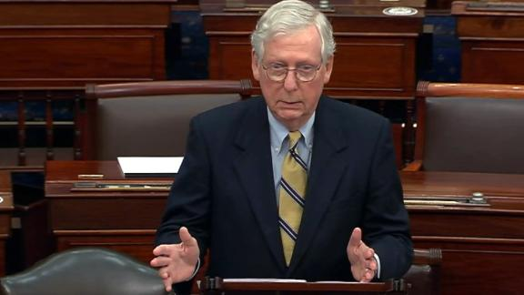 "WASHINGTON, DC - FEBRUARY 13: In this screenshot taken from a congress.gov webcast, Minority leader Sen. Mitch McConnell (R-KY) responds after the Senate voted 57-43 to acquit on the fifth day of former President Donald Trump's second impeachment trial at the U.S. Capitol on February 13, 2021 in Washington, DC. House impeachment managers had argued that Trump was ""singularly responsible"" for the January 6th attack at the U.S. Capitol and he should be convicted and barred from ever holding public office again. (Photo by congress.gov via Getty Images)"