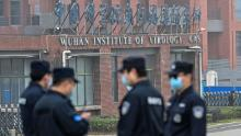 Security personnel stand guard outside the Wuhan Institute of Virology in Wuhan as members of the World Health Organization team make a visit.