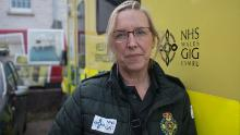 Angie Dymott, a paramedic with the Welsh Ambulance Service, was hospitalized with coronavirus last April. She recovered and has  returned to work.
