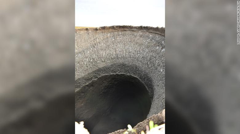 The crater is 30 meters deep. Scientists made a 3D model of it by using images taken by a drone.