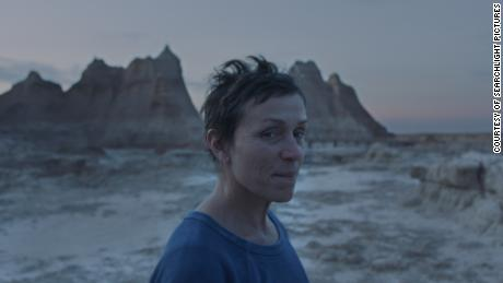 "Frances McDormand in the ""Nomadland.""  Courtesy of Searchlight Pictures."