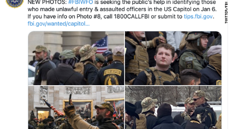 The FBI has sent several photos of men in Oath Keepers uniforms asking for more information as they investigate the Capitol attack.