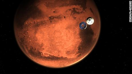 This illustration shows NASA's Perseverance rover casting off its spacecraft's cruise stage, minutes before entering the Martian atmosphere. Hundreds of critical events in the rover's Entry, Descent, and Landing sequence must execute perfectly and exactly on time for the rover to touch down on Mars safely on Feb. 18, 2021.