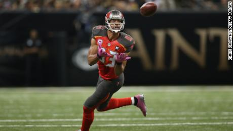 Vincent Jackson of the Tampa Bay Buccaneers against the New Orleans Saints at the Mercedes-Benz Superdome on October 5, 2014 in New Orleans, Louisiana.